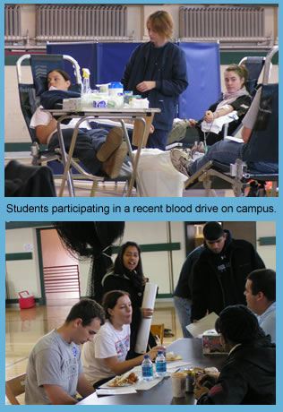 Students participating in a recent blood drive on campus.