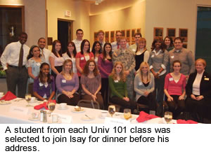 Students were invited to join Isay for dinner.