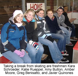 Taking a break from skating are Kara Schroeder, Katie Rueppel, Amy Button, Amber Moore, Greg Benisatto and Javier Quinones