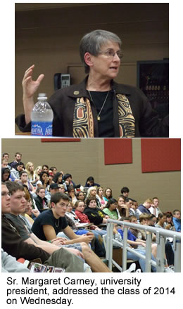 Sr. Margaret Carney addressed the class of 2014 Wednesday.