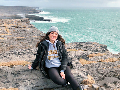 Study abroad student Casey Wolfe on the coast of Galway, Ireland