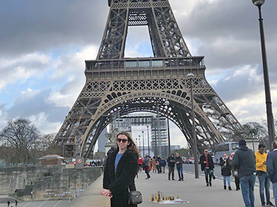 Sophia Wallace by the Eifel Tower in Paris