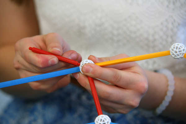 Close up of a student's hands as she attaches struts to a node.
