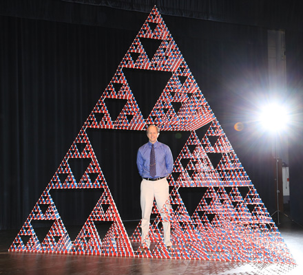 Dr. Chris Hill hangs out inside of a stage-6 Sierpinski tetrahedron.
