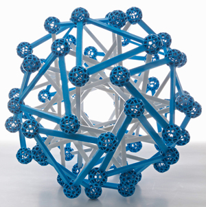 The compound of 12 triangular prisms using blue connector balls and Y3 struts in white