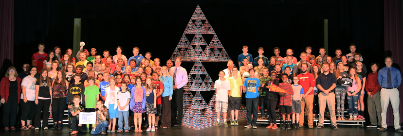 The world premier of a stage-6 Sierpinski Tetrahedron made from Zometool