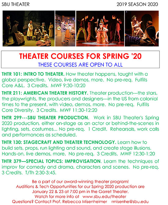 Spring 2020 Theater Courses