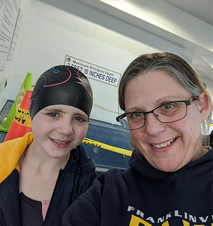 Pictured_Franklinville PAWS Swim Coach Jennifer Landow and daughter