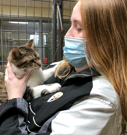 Pictured_Kaitlin and shelter cat