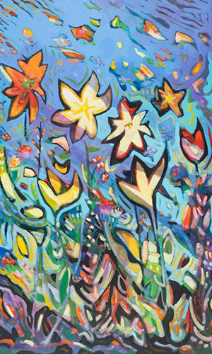 Joe Orfeo painting at St. Bonaventure University's Quick Center