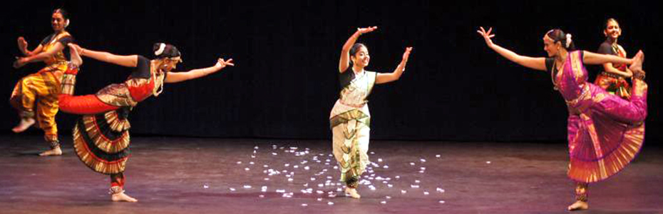 Asian students present a dance on stage during the university's annual Diwali Festival