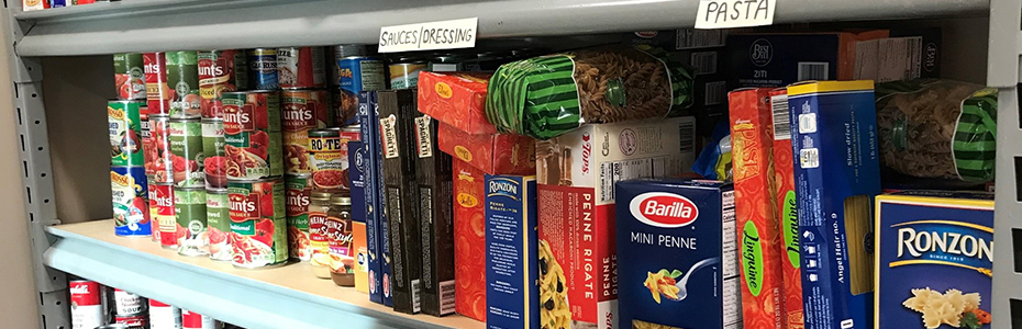 Shelves of food at the SBU Food Pantry