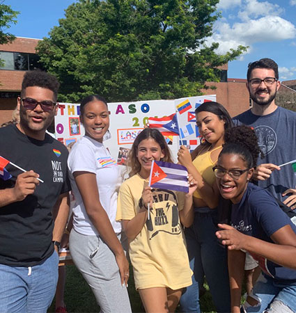 File photo: LASO members (from left) Jeancarlos Aponte (Class of 2020), Arlecia Dobie (Class of 2021), Priscilla Contreras (Class of 2021), Angeliz Tollens (Class of 2021), Alicia Sanchez (Class of 2020) and Josh Little (Class of 2020).