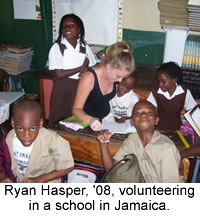 Junior Ryan Hasper volunteering in Jamaica.